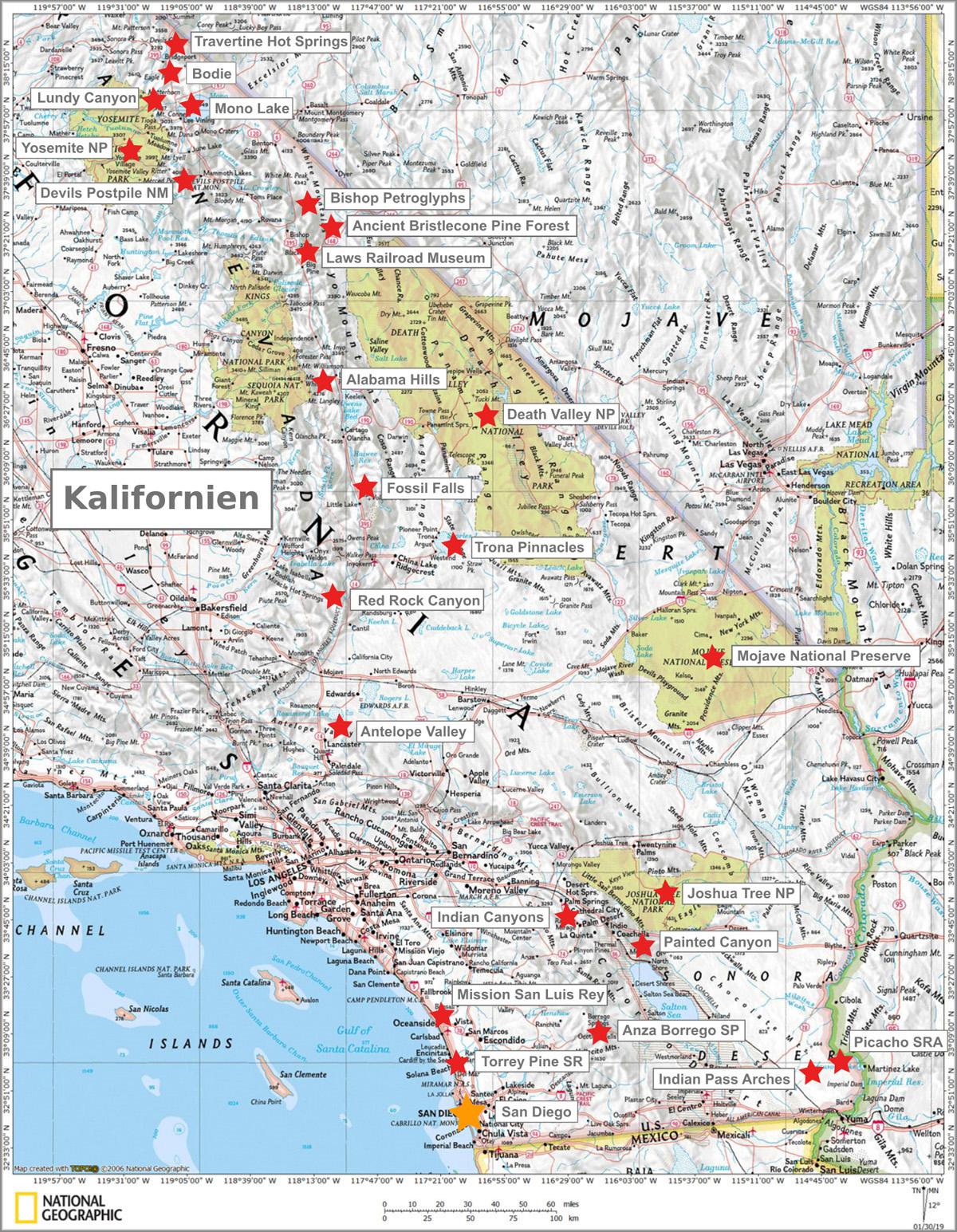 Kalifornien Karte Und Sehenswurdigkeiten