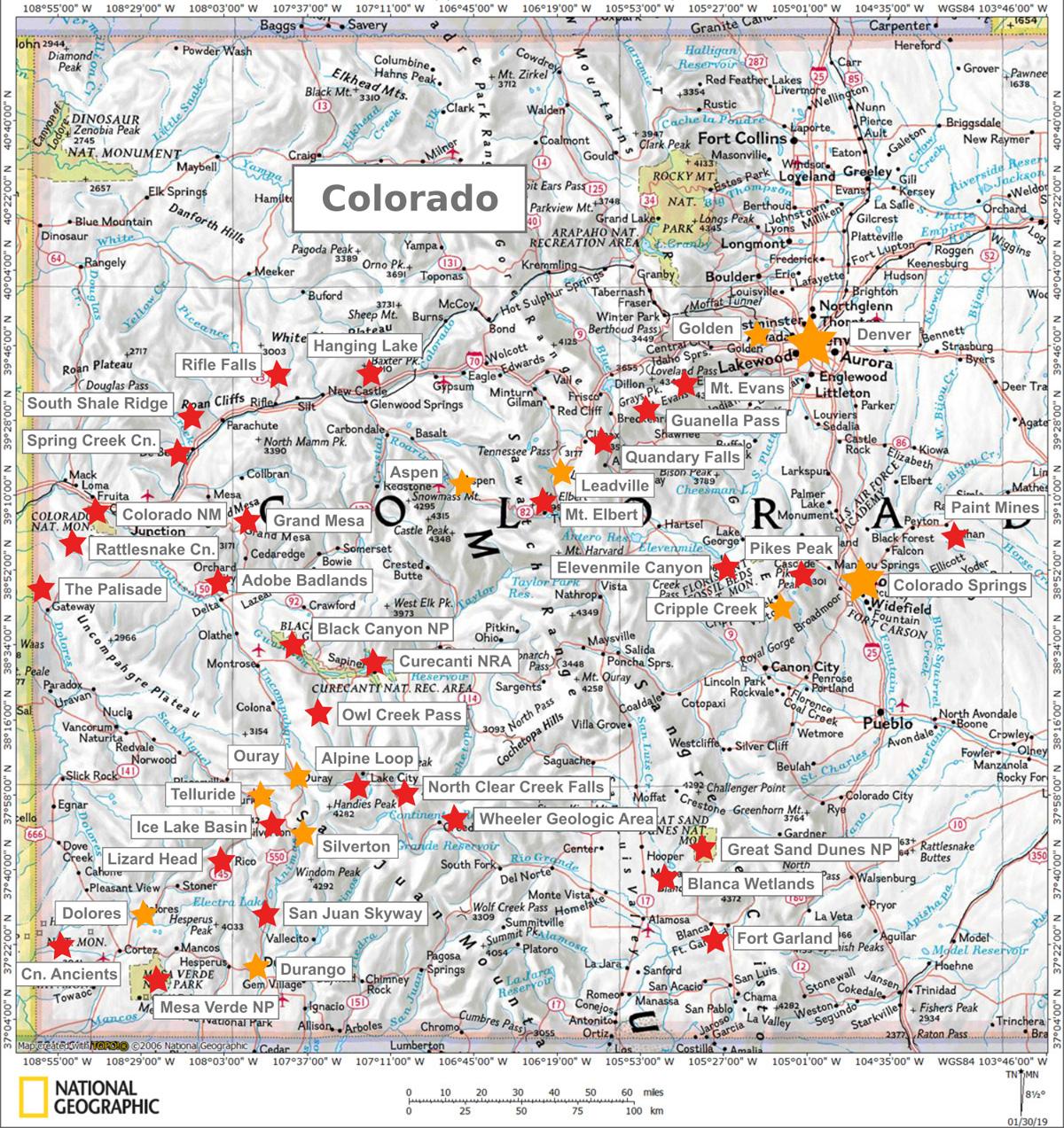 Colorado Karte Und Sehenswurdigkeiten