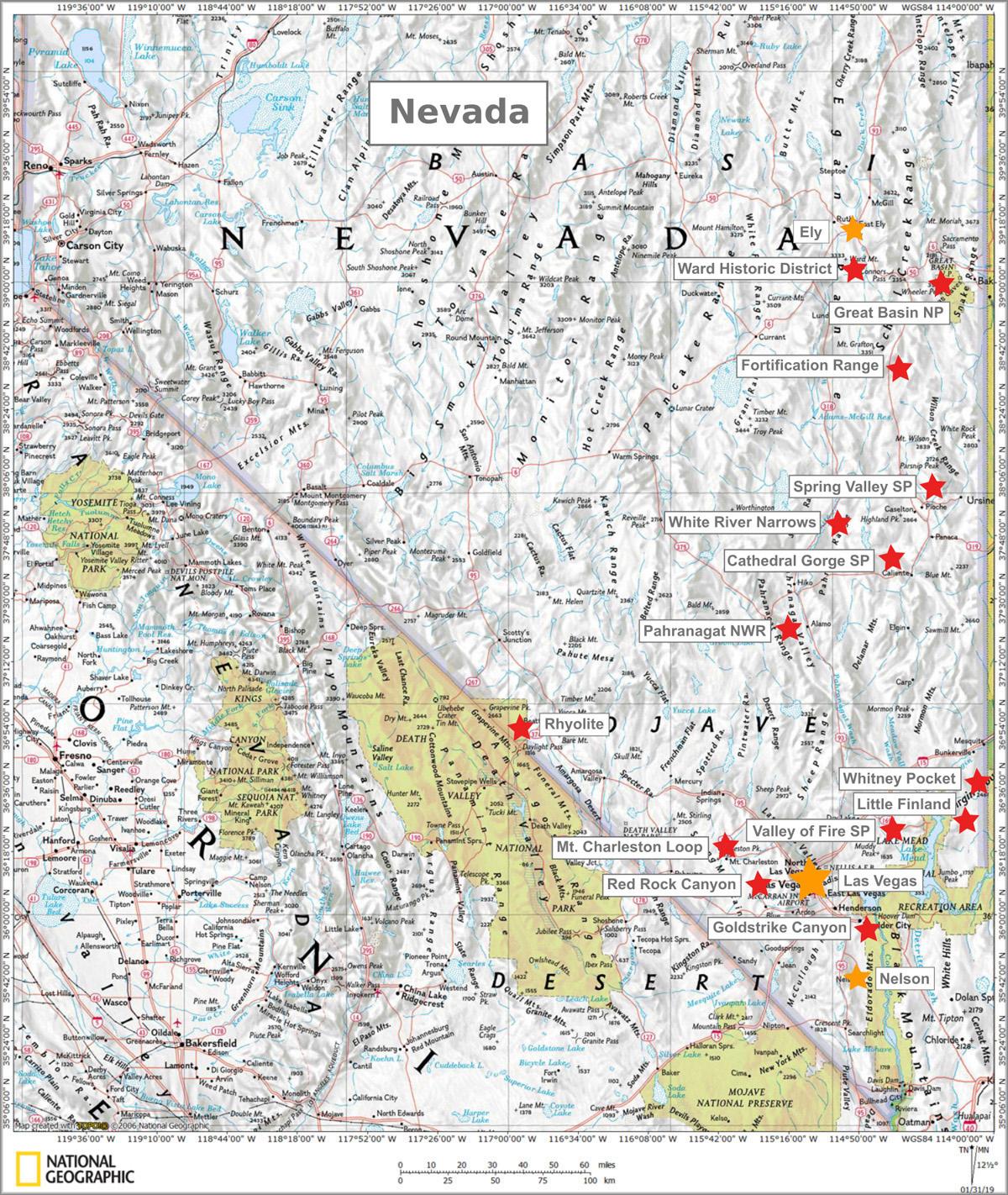 Nevada Karte Und Sehenswurdigkeiten