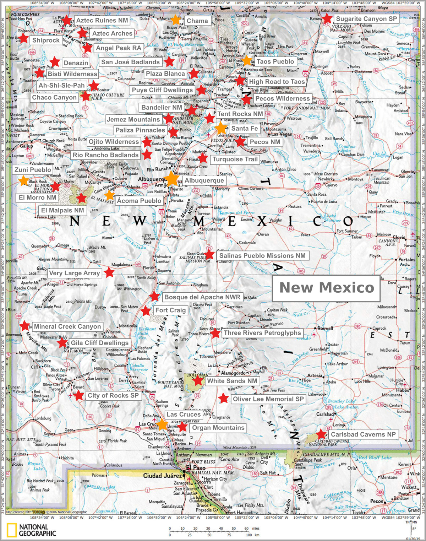 New Mexico Karte Und Sehenswurdigkeiten